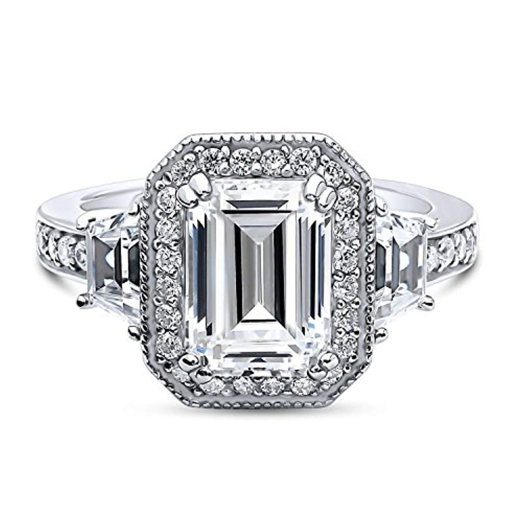 Rhodium Plated Sterling Silver Emerald Cut Cubic Zirconia CZ Statement Halo Engagement Ring