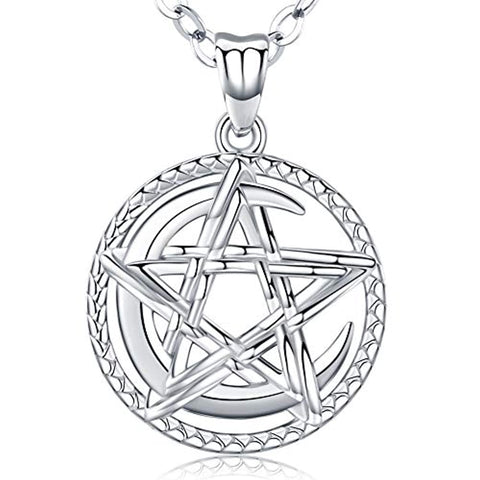 Moon and Star 925 Sterling Silver Pendant