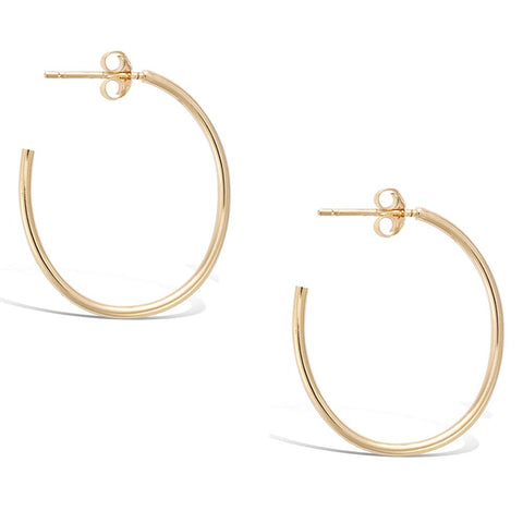 Gold Plated Sterling Silver Medium Dainty Thin Tube Oval Half Open Post Hoop Earrings Jewelry Gift for Women Girls