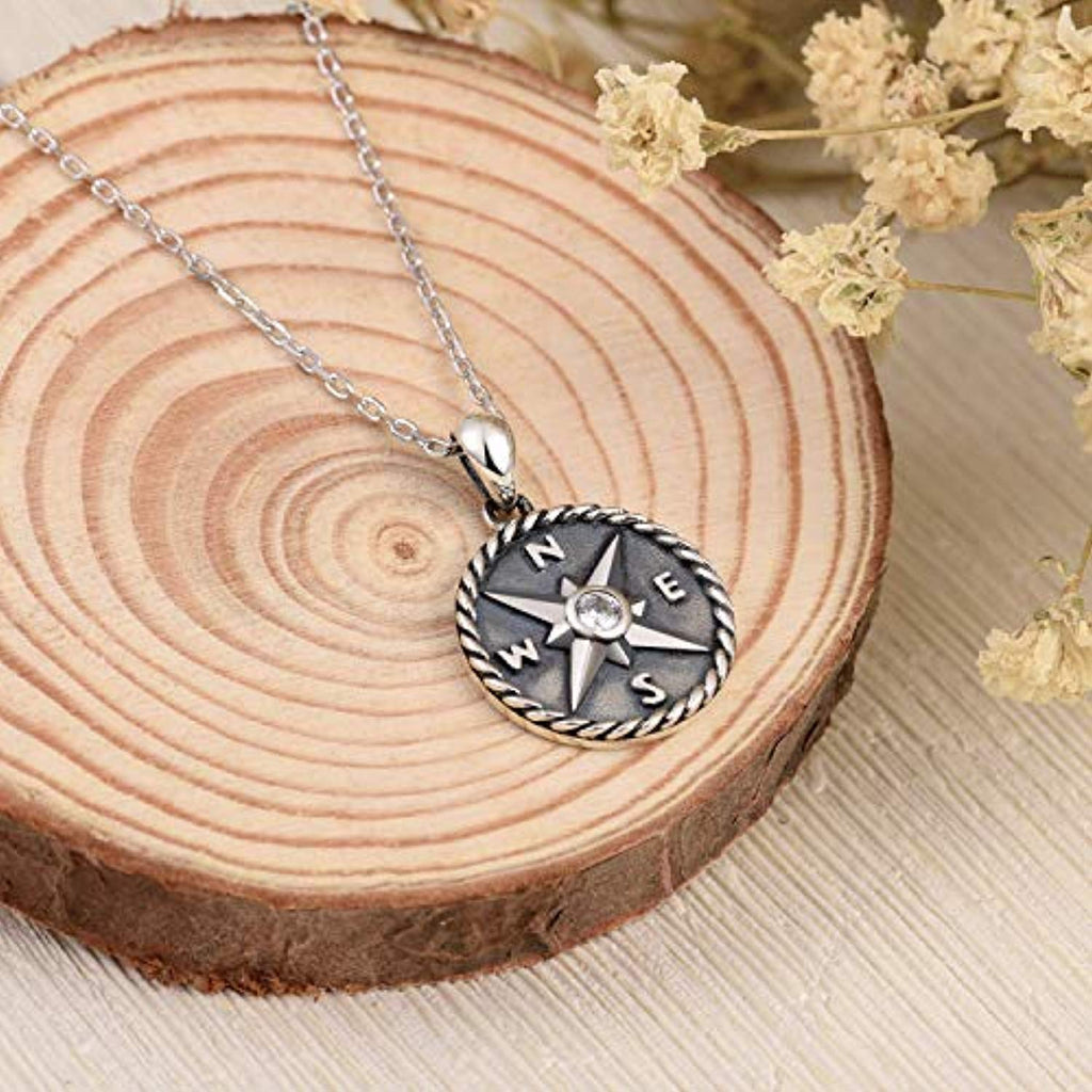 925 Sterling Silver Compass Journey Jewelry Friendship Pendant Necklace for Women
