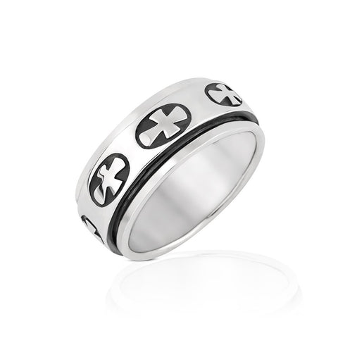 925 Sterling Silver Sideways Cross Spin Spinner Ring & Inner Band  Ring