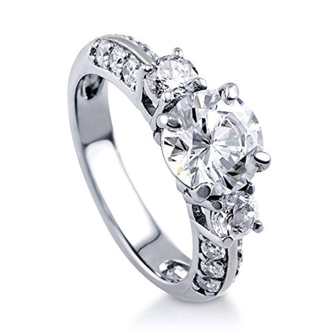 Rhodium Plated Sterling Silver Round Cubic Zirconia CZ 3-Stone Anniversary Engagement Ring