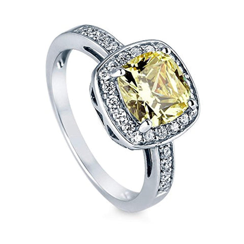 Rhodium Plated Sterling Silver Canary Yellow Cushion Cut Cubic Zirconia CZ Halo Engagement Ring