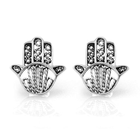 925 Sterling Silver Tiny Detailed Hamsa Hand of Fatima Good Luck Protection 14 mm Post Stud Earrings