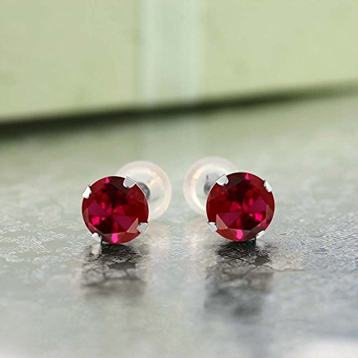 14K Gold Red Created Ruby Stud Earrings For Women