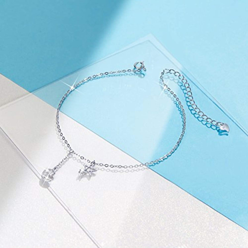 Star and Moon Anklet 925 Sterling Silver Charms Anklet Bracelet for Women Beach Casual