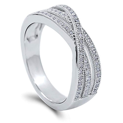 Rhodium Plated Sterling Silver Cubic Zirconia CZ Woven Cocktail Fashion Right Hand Ring