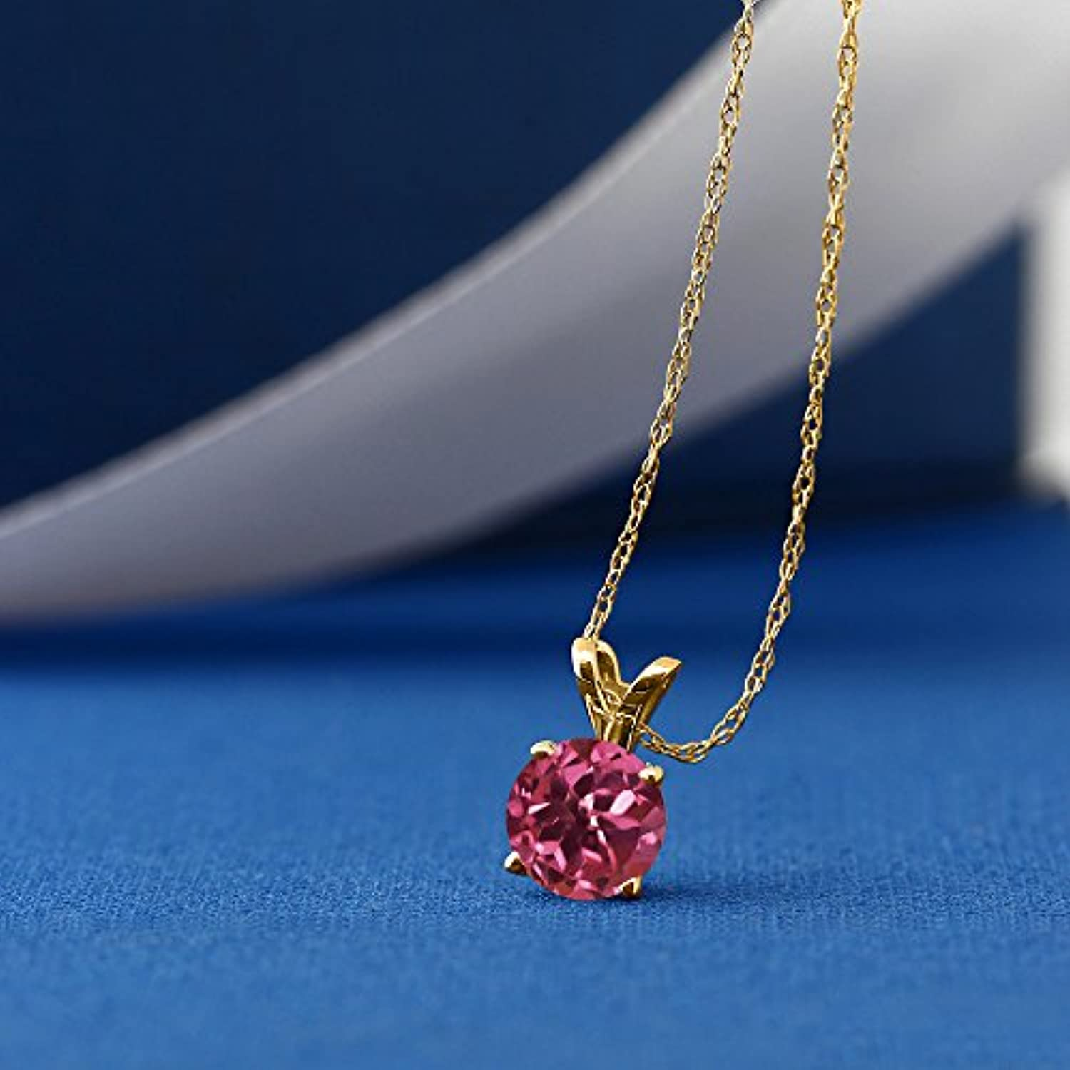 14K Gold Pink Tourmaline Pendant Necklace For Women