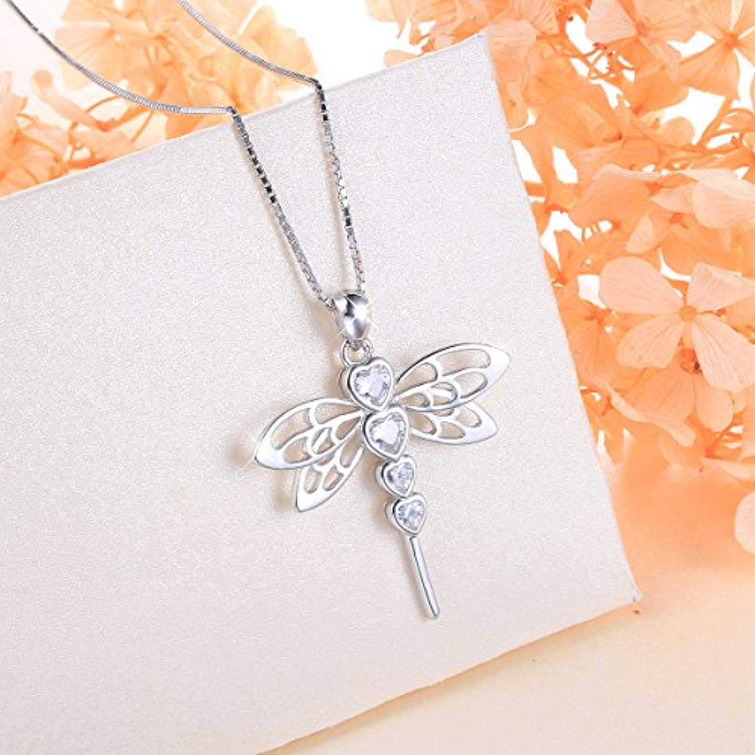 Dragonfly S925 Sterling Silver Elegant Cute Animal Pendant Necklace for Women Teen Girl 18