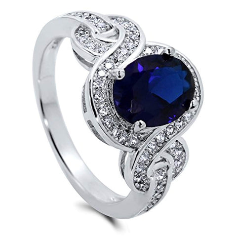 Rhodium Plated Sterling Silver Simulated Blue Sapphire Oval Cut Cubic Zirconia CZ Statement Solitaire Woven Engagement Ring