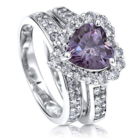 Rhodium Plated Sterling Silver Purple Heart Shaped Cubic Zirconia CZ Statement Halo Engagement Wedding Ring Set