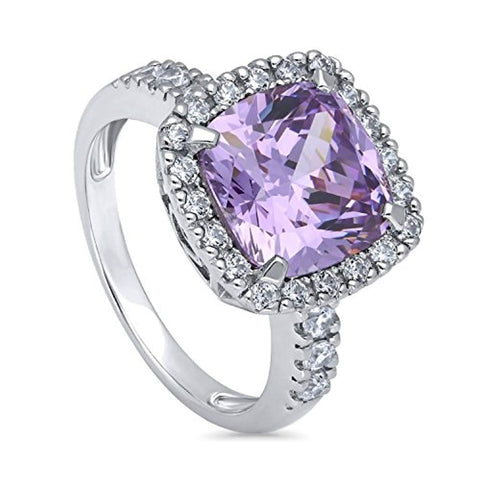 Rhodium Plated Sterling Silver Purple Cushion Cut Cubic Zirconia CZ Statement Halo Cocktail Fashion Right Hand Ring
