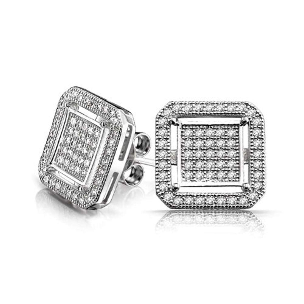 Geometric Square Box Cubic Zirconia Pave CZ Stud Earrings For Men 14K Gold Plated 925 Sterling Silver
