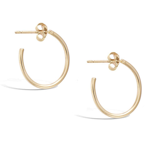 Gold Plated Sterling Silver small  Dainty Thin Tube Oval Half Open Post Hoop Earrings Jewelry Gift for Women Girls