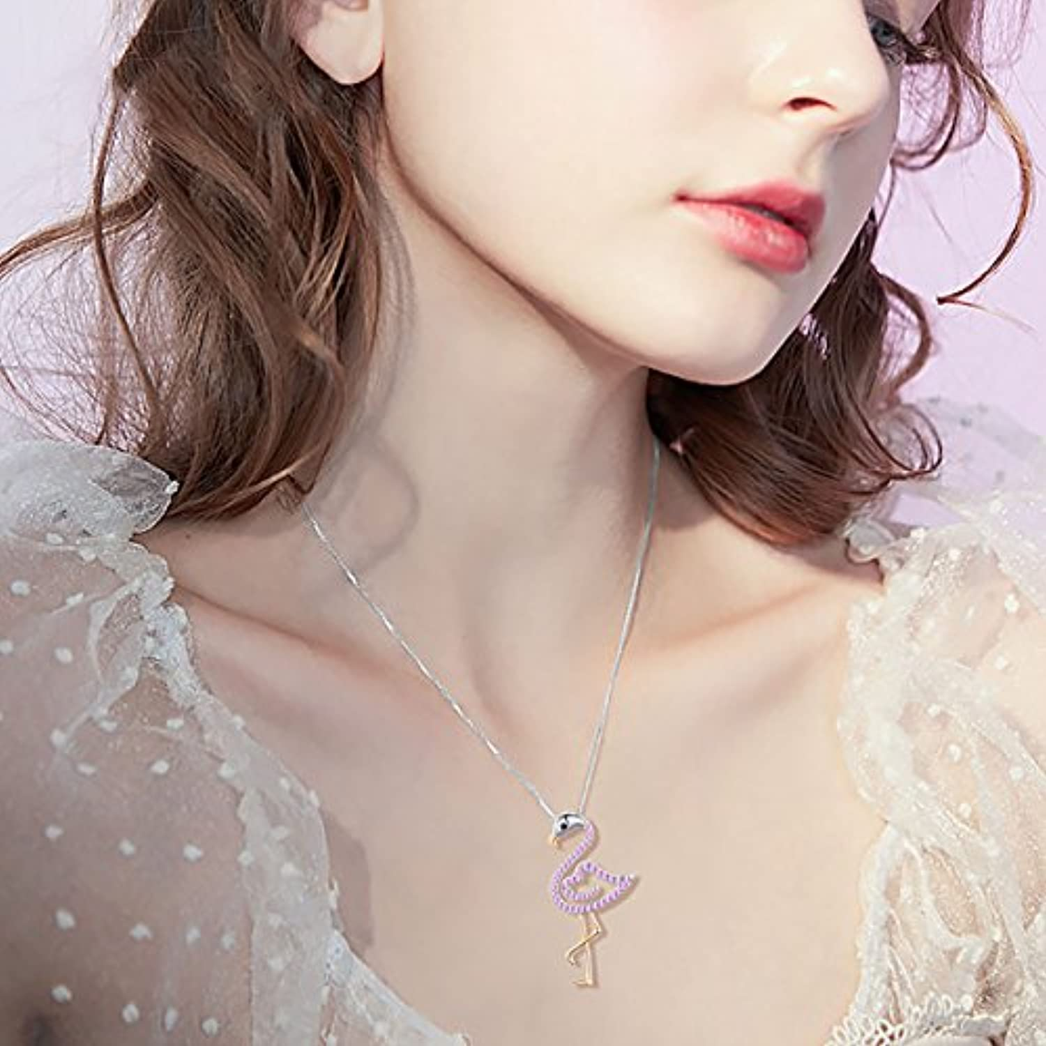 Two Tone S925 Sterling Silver Bird Pendant Pink Flamingo Love Heart Pendant Necklace for Women Ladies Birthday Graduation Gift