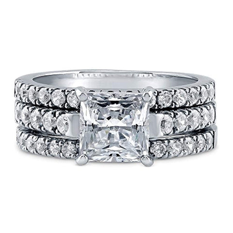 Rhodium Plated Sterling Silver Princess Cut Cubic Zirconia CZ Statement Solitaire Engagement Wedding Ring Set