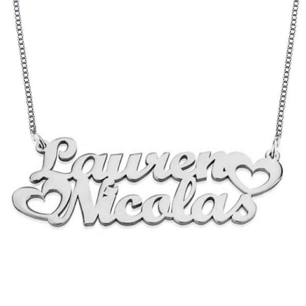 Personalized Double Name Necklace with Cut Out Heart
