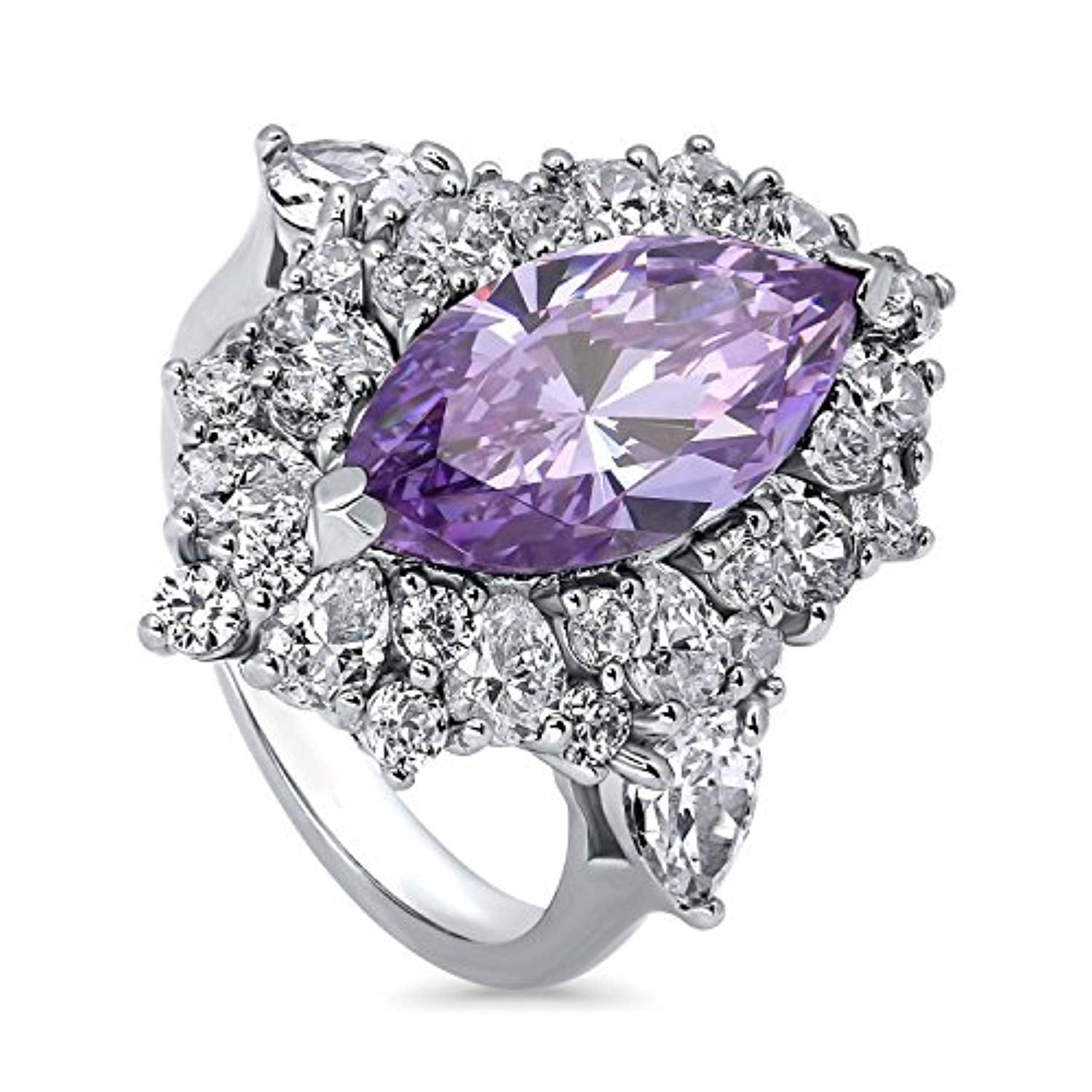 Rhodium Plated Sterling Silver Purple Marquise Cut Cubic Zirconia CZ Statement Halo Cocktail Fashion Right Hand Ring