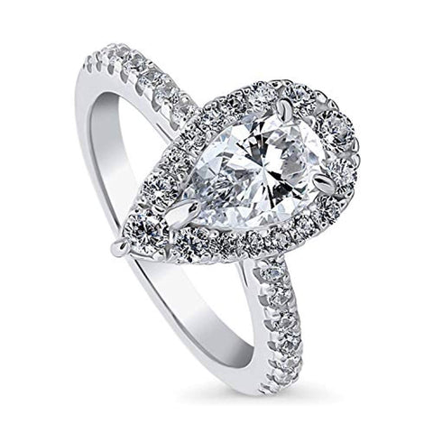 Rhodium Plated Sterling Silver Pear Cut Cubic Zirconia CZ Halo Engagement Ring