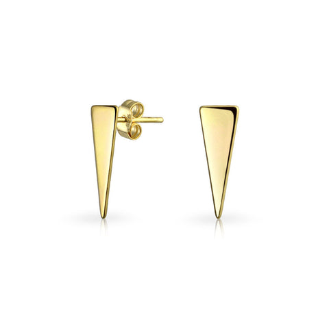 Minimalist Geometric Triangle Arrow Tiny Stud Earrings 14K Gold Plated 925 Sterling Silver