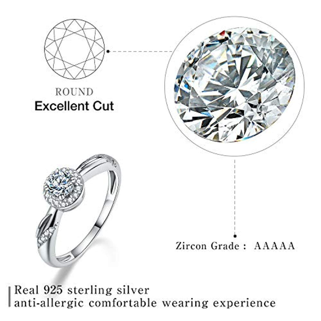 925 Sterling Silver Cubic Zirconia Round Cut Rings Twisted CZ Simulated Diamond Eternity Bands Engagement Wedding Bands for Women