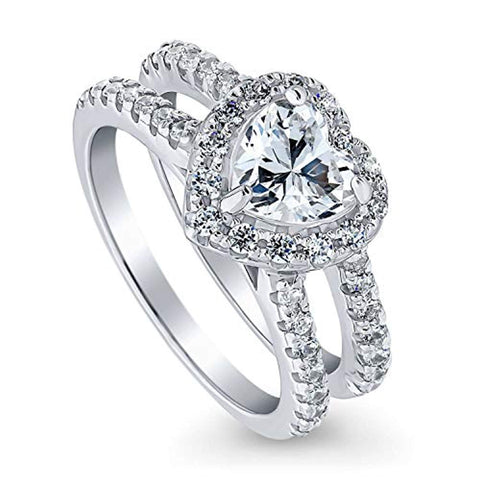 Rhodium Plated Sterling Silver Heart Shaped Cubic Zirconia CZ Halo Engagement Ring