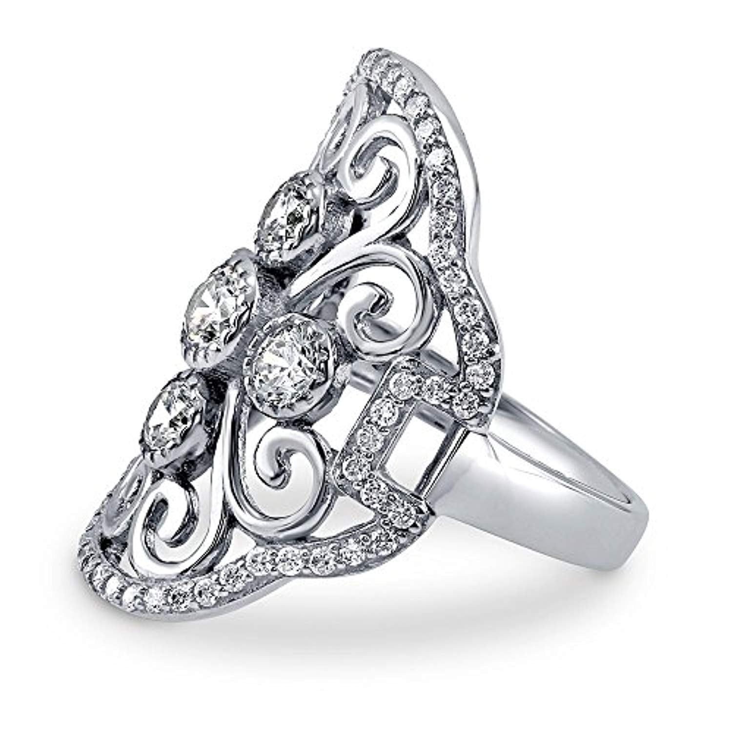 Rhodium Plated Sterling Silver Cubic Zirconia CZ Statement Art Deco Filigree Cocktail Fashion Right Hand Ring