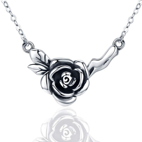 Silver Rose Flower Necklace Pendants