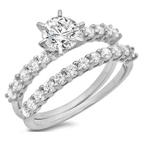 3.4 Ct Round Cut Solitaire Engagement Promise Wedding Anniversary Ring Band Set 14K White Gold For Bridal