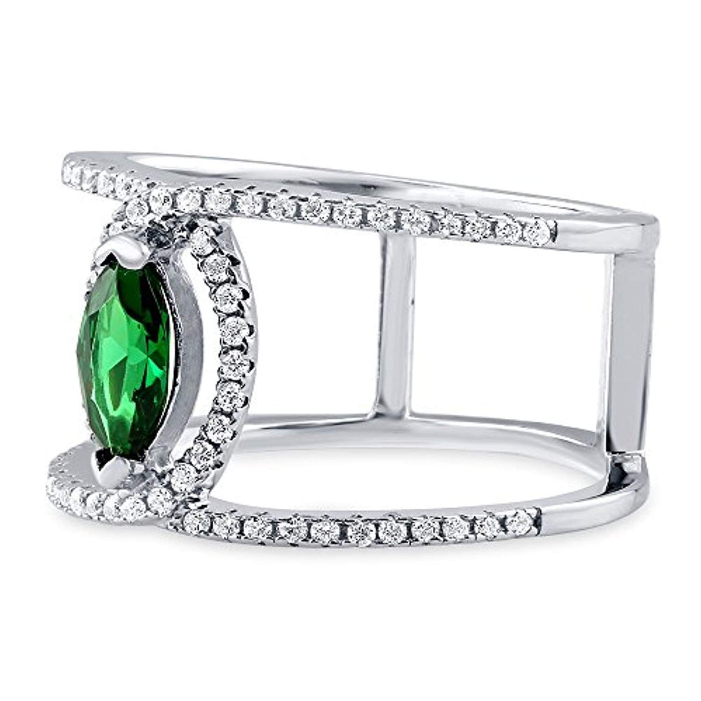 Rhodium Plated Sterling Silver Green Cubic Zirconia CZ Open Bar Fashion Right Hand Ring