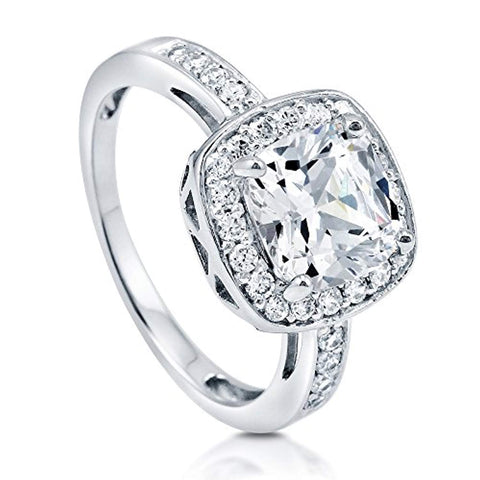 Rhodium Plated Sterling Silver Cushion Cut Cubic Zirconia CZ Halo Engagement Ring