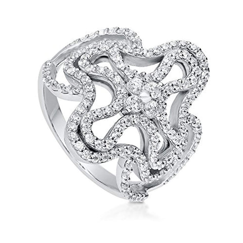 Rhodium Plated Sterling Silver Cubic Zirconia CZ Cross Filigree Cocktail Fashion Right Hand Ring