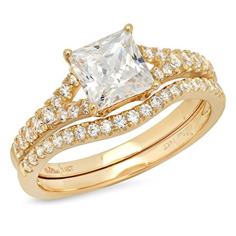 14k Yellow Gold Princess Cut Solitaire Engagement Wedding Ring Band Set For Ladies