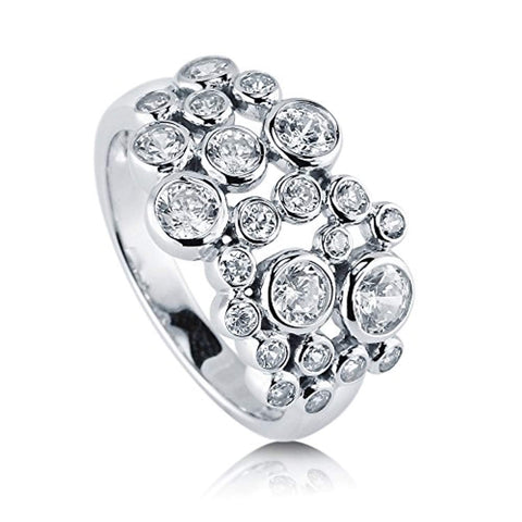 Rhodium Plated Sterling Silver Cubic Zirconia CZ Bubble Cocktail Fashion Right Hand Ring