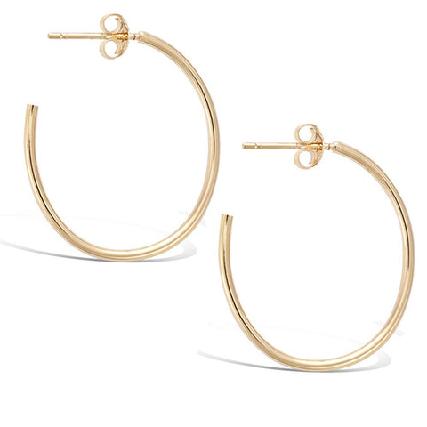 Gold Plated Sterling Silver Large Dainty Thin Tube Oval Half Open Post Hoop Earrings Jewelry Gift for Women Girls