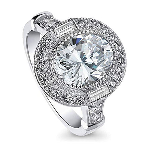 Rhodium Plated Sterling Silver Oval Cut Cubic Zirconia CZ Statement Halo Art Deco Milgrain Engagement Ring