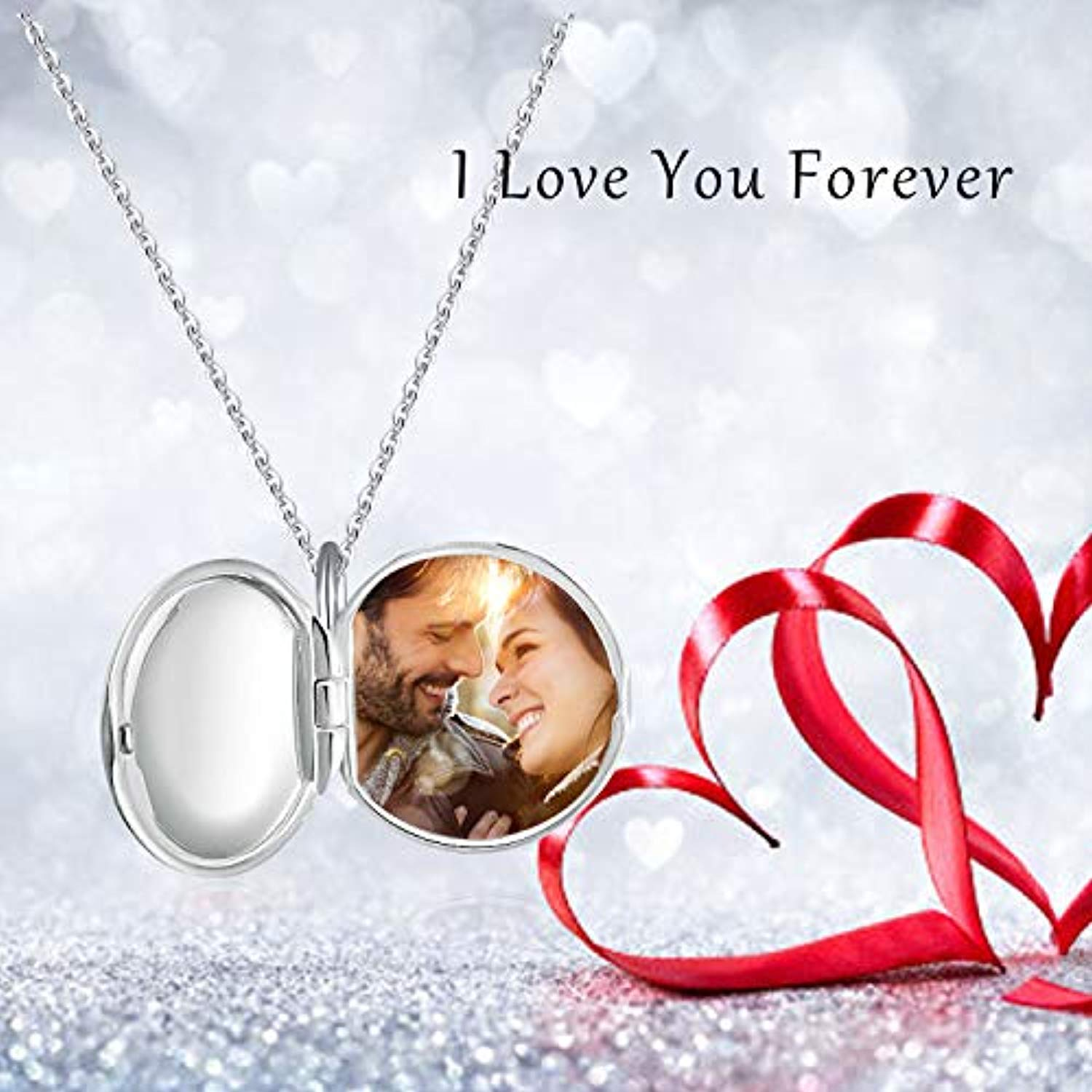 Locket Necklace That Holds Pictures Guardian Angel 925 Sterling Silver Photo Heart Lockets Necklace for Women.