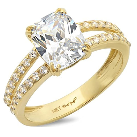 4.65 Ct Cushion Cut 2 Prong Pave Engagement Promise Band Wedding Bridal Anniversary Ring 14K Yellow Gold For Lovers