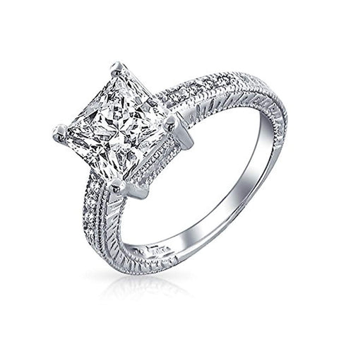 3CT Princess Cut Square Solitaire Milgrain Pave Band Princess Cut AAA CZ Engagement Ring For Women 925 Sterling Silver