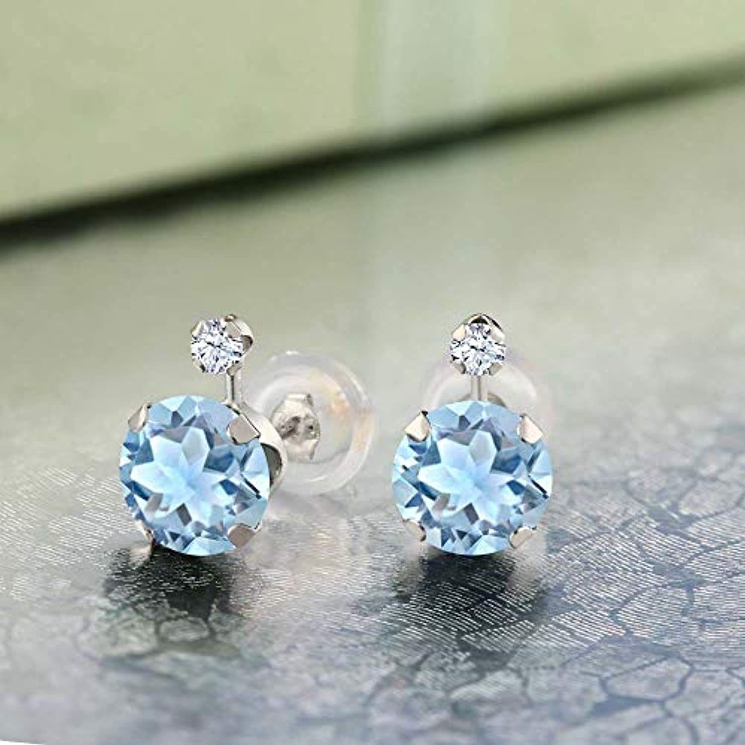 14K  Gold Sky Blue Aquamarine and White Created Sapphire Stud Earrings For Women