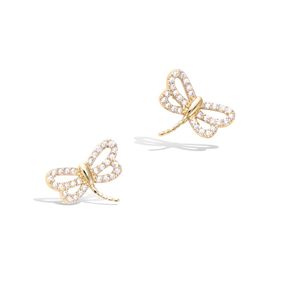 925 Sterling Silver Gold plated Cute Small Dragonfly Stud Earrings Cubic Zirconia CZ Trendy Jewelry Gifts For Women