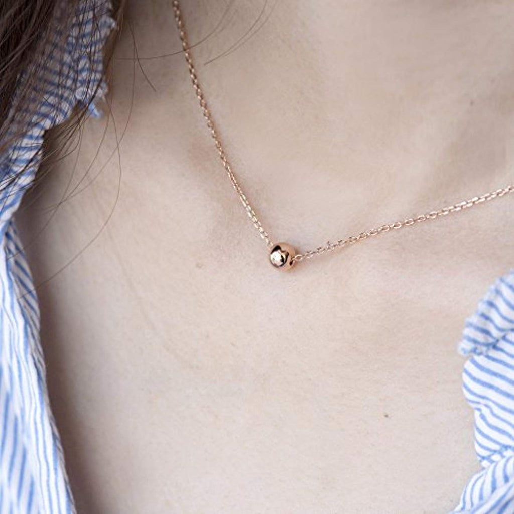 Sterling Silver Necklace Dainty Solid Bead Necklace Gold Necklaces for Women 5mm