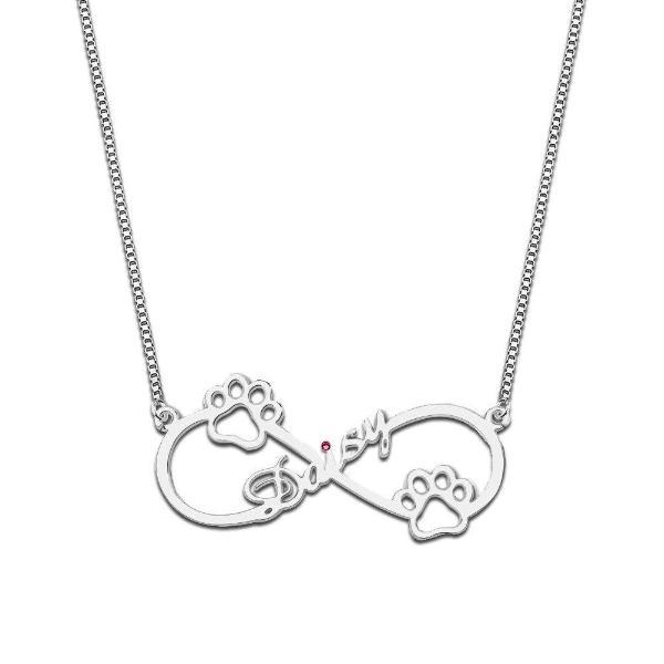 925 Sterling Silver Personalized Birthstone Infinity Name Necklace with Dog Paw