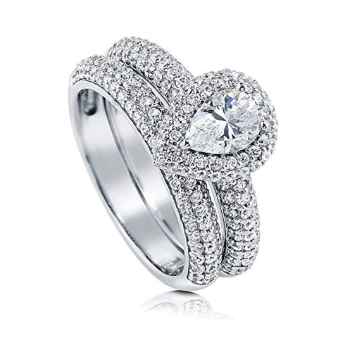 Rhodium Plated Sterling Silver Pear Cut Cubic Zirconia CZ Halo Engagement Wedding Ring Set