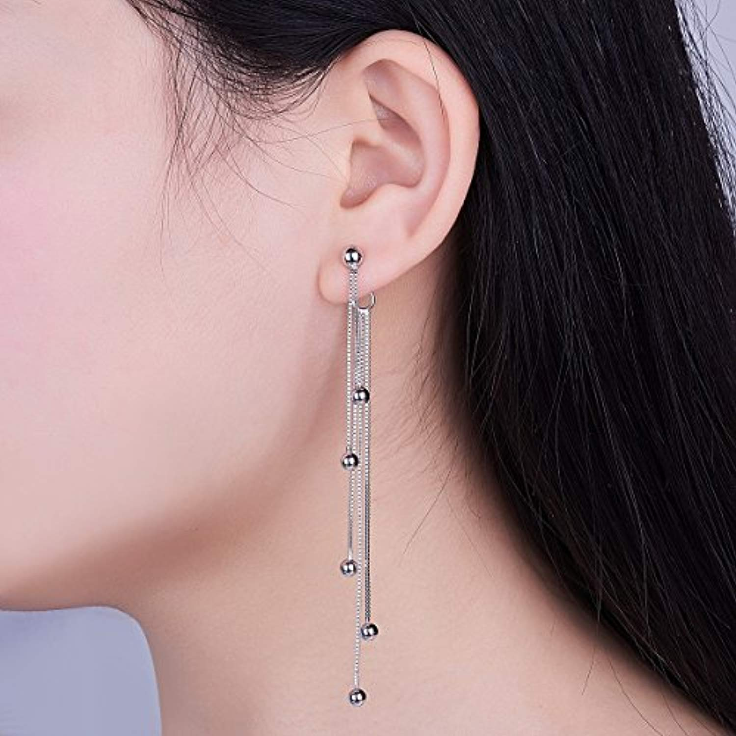 925 Sterling Silver Bead Dangling Drop Earrings, Long Chain Earrings for Women