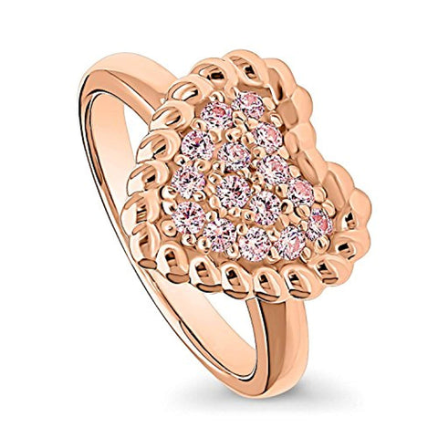 Rose Gold Plated Sterling Silver Heart Cable Cocktail Fashion Right Hand Ring Made with Swarovski Zirconia