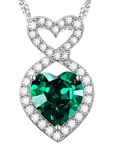 Silver Green Emerald Necklace Pendants Infinity Love