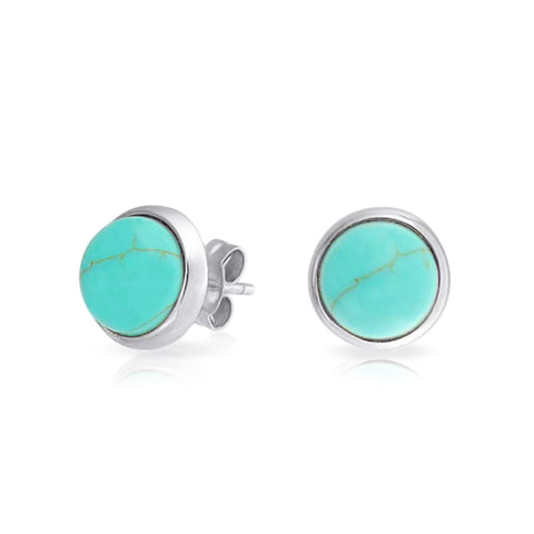 Simple Gemstone Bezel Set Round Dome Button Stud Earrings For Women 14K Gold Plated 925 Sterling Silver