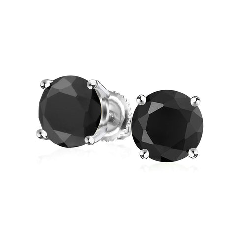 Black Round Solitaire Brilliant Cut CZ Stud Earrings For Women For Men Screwback 925 Sterling Silver