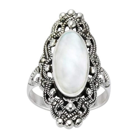925 Sterling Silver 30 mm Filigree Genuine Marcasite and Natural Mother of Pearl Ring